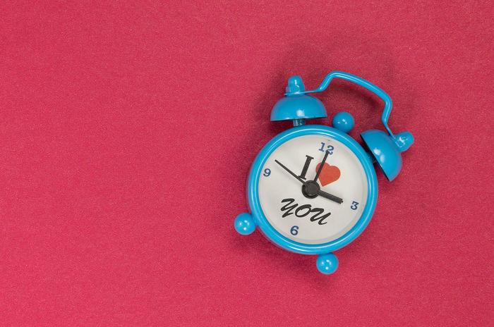 Alarm Clock Blue Clock Close-up I Love You Indoors