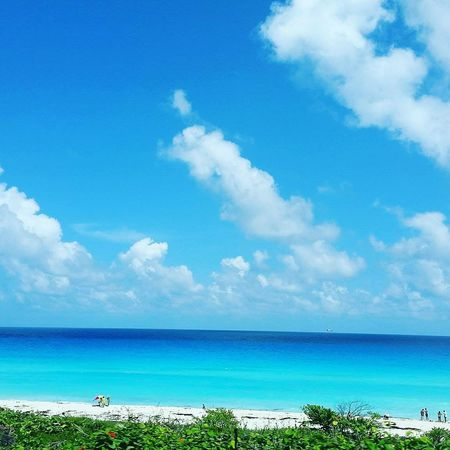 Sea Sky Beach Horizon Over Water Cloud - Sky Water Tranquility Blue Outdoors Sand Day Vacations Nature Summer Travel Destinations Beauty In Nature Mexico CanCun