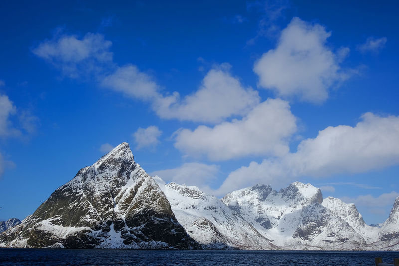 Scenic view of snowcapped mountain by lake against sky