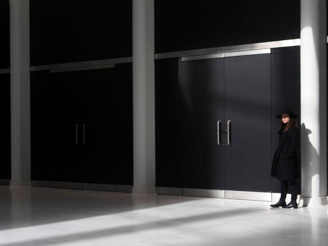Door Illuminated One Person Shadow Shadow Play