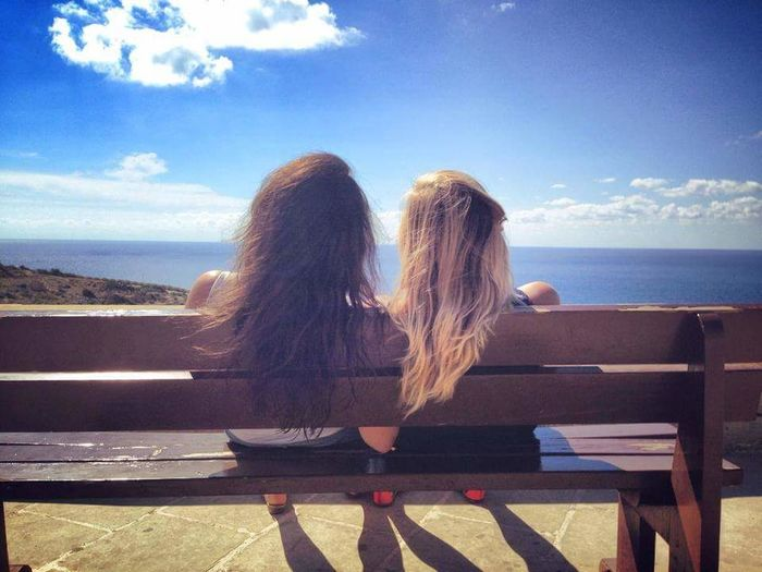 Let Your Hair Down Blonde And Brunette Sea And Sky Sitting On A Bench Friendship Showcase July