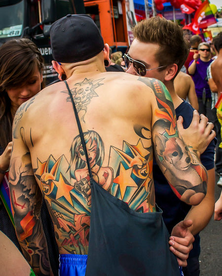 Cool Tattoos Art Berlin Casual Clothing Composition Creativity Friendship Fun Gay Gaypride Happiness Innocence Leisure Activity Lifestyles Manga Person Perspective Portrait Pride Real People Up Close Street Photography Streetphotography Tattoo Three Quarter Length Young Adult Young Men