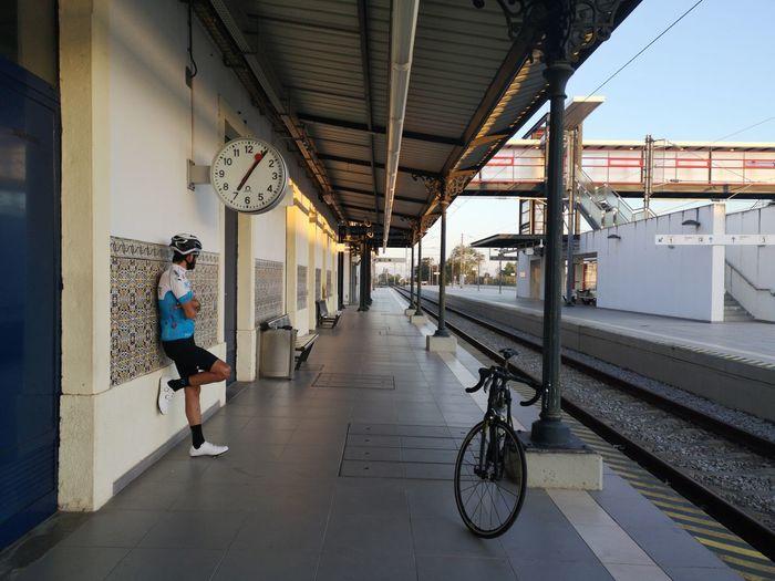 Man at railroad station