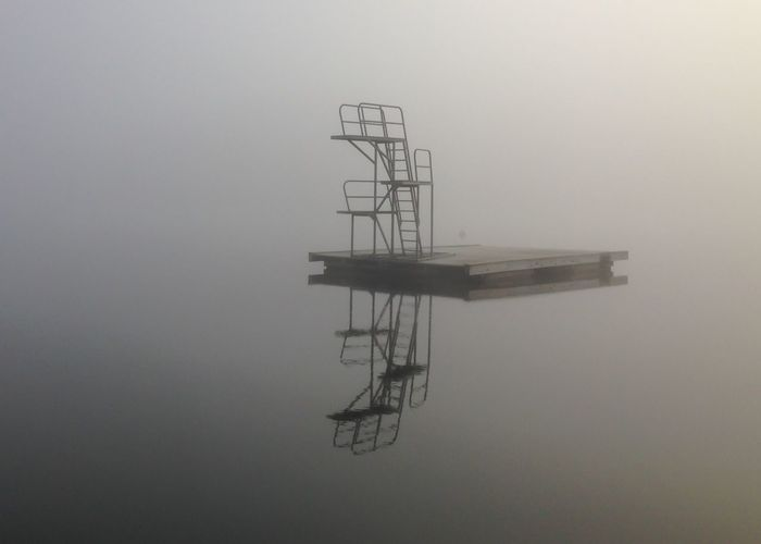 Ready for a swim in the fog? Calmwater Fog Over Water Stockholm Archipelago MADE IN SWEDEN