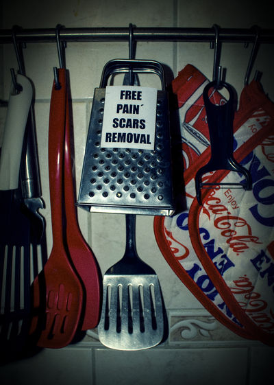 Free Pain Scars Removal. I don't know u. I have too many. FILIPPI GIULIA PHOTOGRAPHY. Art ArtWork Berlin Canon Colors Communication Equipment Free Fun Funny Germany Grunge Hanging Kitchen Kitchen Utensils Light And Shadow Message No People Objects Pain Photographer Photography Scars Smile Text