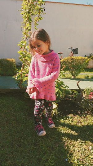 Child Childhood Relaxing Happy Child  Girl Garden Winter Sun Cold Sunny Day Vintage Sunny Day Calmness Peaceful Moment