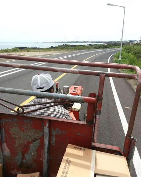 Travel Tractor Driving Experience JEJU ISLAND  Old Man Roadway Seascape Horizon Oriental Style Shabby