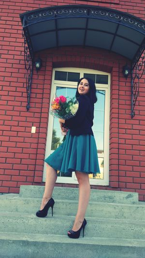 EyeEm Selects Only Women One Woman Only Adults Only Adult Flowers One Person one Outdoors People Standing Full Length Looking At Camera Day Low Angle View Portrait One Young Woman Only Flower Young Women Young Adult Moscow Model Women Smiling Make-up Beautiful Woman