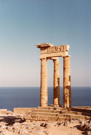 Temple of Athena, Lindos - -Island of Rhodes, Greece Architecture Sea Beach Water Nature Sky Sunlight Day History Outdoors Sand Clear Sky Scenics Beauty In Nature No People Lindos Greece Rhodes Greece Horizon Over Water Built Structure Temple Of Athena