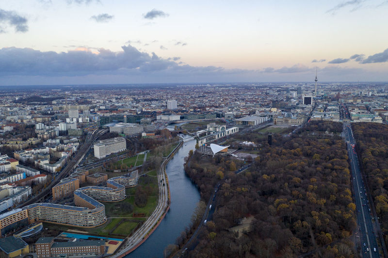 High above Spreebogen Berlin with view of Kanzleramt and Reichstag Built Structure Cityscape Water Day Aerial View Architecture High Angle View TOWNSCAPE Kanzleramt Berlin Reichstag