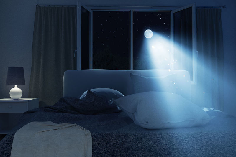 bedroom with unmade and rumpled bed in the full moon night Bed Dark Pillow Beam Bedroom Curtains Home Interior Illuminated Indoors  Lamp Moonlight Night No People Open Window Rumpled Unmade