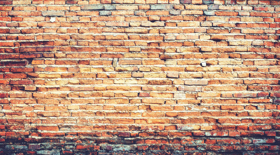 brick wall texture background, vintage and instagram film look color tone Wall Brick Brick Wall Backgrounds Architecture Built Structure Textured  Pattern No People Weathered Outdoors Brown Old Vintage Style Wall Building Exterior