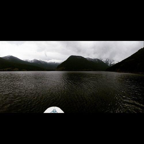 Good view of the mountains in the middle of jones lake Beautifulbritishcolumbia Explorebc Joneslake Paddleboard
