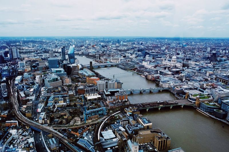 London Town Water Sky Sea Architecture Nature Building Exterior Horizon Cloud - Sky City High Angle View Cityscape Built Structure Day Scenics - Nature Outdoors Travel British Culture