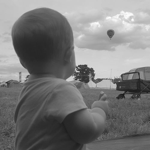 Chilled In A Field Festival Kent Hop Farm Family Alexander Son Hot Air Ballon View Camping Life The Great Outdoors - 2016 EyeEm Awards Nature Black And White Bw Samsung S6