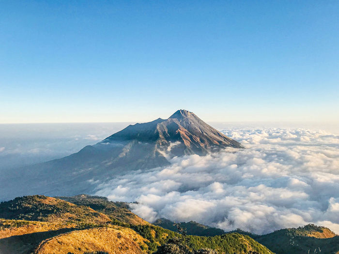 View of volcanic mountain against sky. mt. merbabu, central java, indonesia