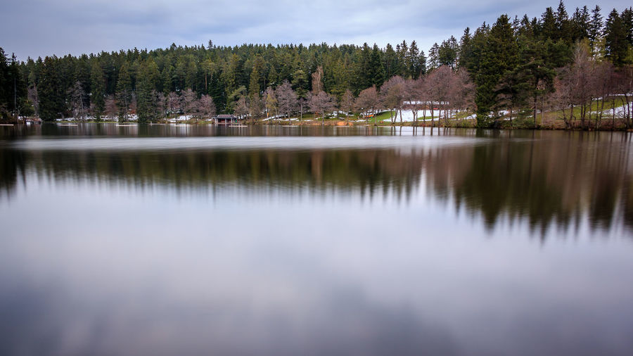 Der Schlüchtsee bei Grafenhausen Beauty In Nature Day Forest Lake Landscape Langzeitbelichtung Long Exposure Mountain Nature No People Outdoors Pinaceae Pine Tree Reflection Scenics Sky Tranquil Scene Tranquility Tree Water