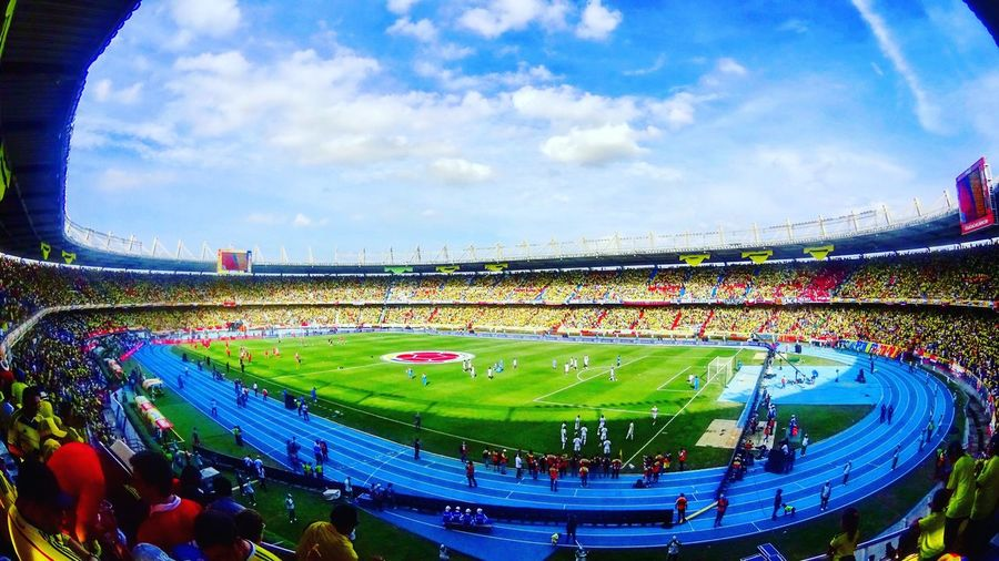 EstadioMetropolitano Colombia Barranquilla Sport Stadium Large Group Of People High Angle View Soccer Sky Professional Sport Outdoors Competition Sports Team People Day