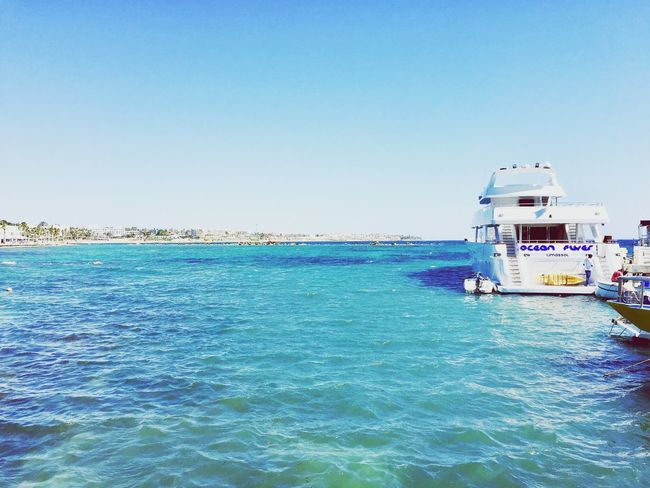 Beautiful water colors Nautical Vessel Sea Blue Clear Sky Nature Beauty In Nature No People Enjoying The Moment Mobile Photography Beautiful Day The Place I've Been Today