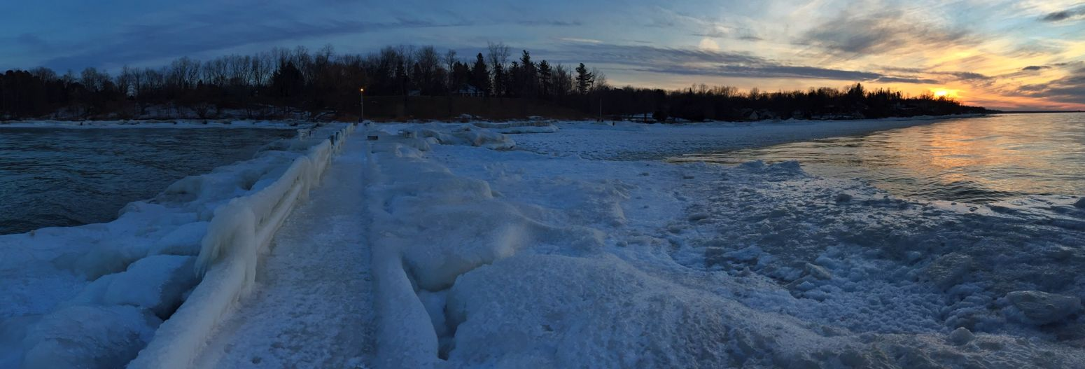 (3) When I reached the end and looked back, it was a Panorama I just had to share | EyeEm Nature Lover EyeEm Best Shots Sunset_collection Water_collection Lake Ontario Nature Frozen Photography Depth Of Field Vanishing Point