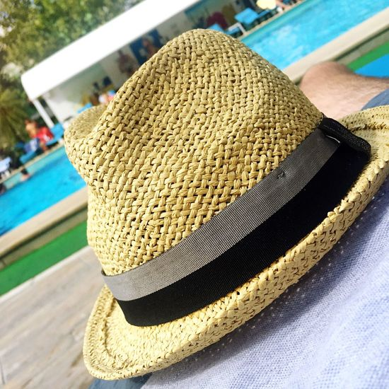 Close-up Summer Poolside Freshness Hat Morning Sun Focus On Foreground Temptation Indulgence