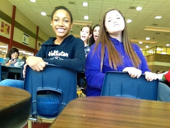 Excuse my super whiteness, but 5th period exam (lunch) with these girls :3