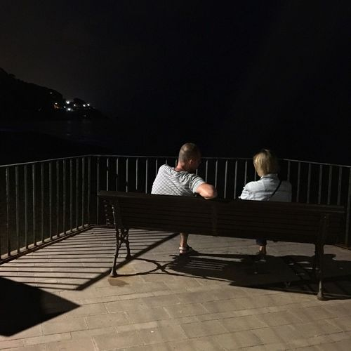Rear view of man and woman sitting on bench by railing against lake at night
