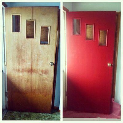 The original front door is now red.