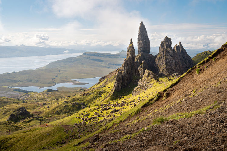 The old man of storr - famous rocky formation, isle of skye, scotland. scenic view of landscape