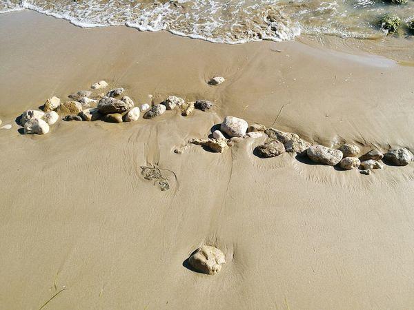 At the beach Rock - Object Sunlight Sand Beach Vilanova I La Geltru Water Day Beautiful Nature