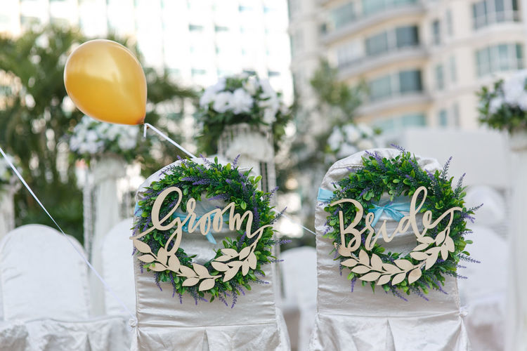 Wedding decoration Wedding Decoration Wedding Details Wedding Wedding Chairs Chairs Groom Bride Bride And Groom Outdoors Tree Flower Celebration Close-up Architecture Wedding Vows Wedding Reception Newlywed