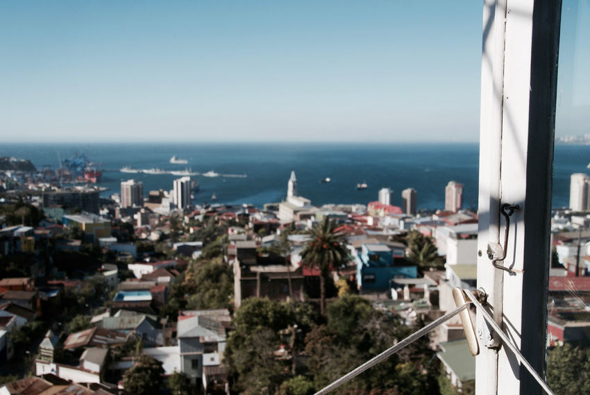 Casa Sebastiana, View from Chilean Poet Pablo Neruda's house in Valparaiso. Architecture Building Exterior Built Structure City Cityscape Clear Sky Day High Angle View Horizon Over Water No People Scenics Sea Sky Town Water