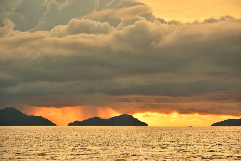 Aceh Culture Aceh Photography INDONESIA Fisherman Fishing Fish Sea Mountain Sunset Beach Sand Water Summer Yellow Sunlight Dramatic Sky Shining Silhouette Tide Coast Seascape Calm Natural Phenomenon