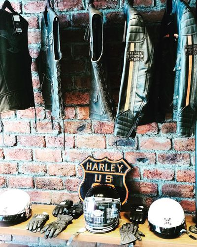 Harley Davidson cafe Hot Wheels Heaven Rustic Harley Davidson Harley Brick Wall Hanging No People Day Indoors  EyeEmNewHere
