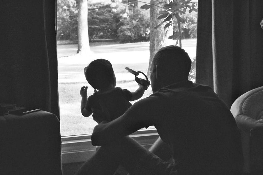 My world. 💕 Real People Window Sitting Two People Holding Lifestyles Childhood Day Human Hand People Fatherhood Moments Father & Son Silhouette Blackandwhite