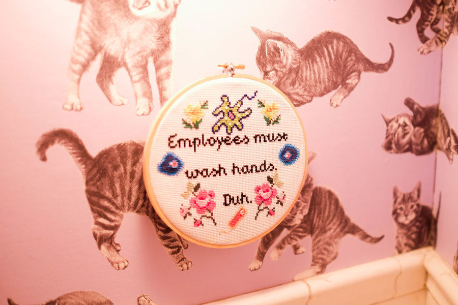 Sign Animal Themes Bathroom Cats Close-up Day Domestic Cat Embroidered Sign Embroidery Embroiderywork Employees Hanging Indoors  Message No People Pets Wash Hands