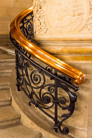 Handrail Metal Ornament Stairs Ancient Antique Baroque Style Close-up Column Go-west-photography.com Handrail  Handrails History Indoors  Metal Metallic Metalwork No People Old-fashioned Ornaments Ornate Stairways