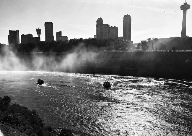 Never appreciated the American side of the Falls like I do now Water Architecture Building Exterior Built Structure City Skyscraper Outdoors Day Travel Destinations Motion Urban Skyline No People Cityscape Sky Nature Sea Niagara Falls Rochesterphotographer Blackandwhite Blackandwhite Photography