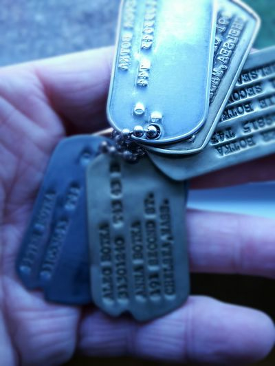 Lieblingsteil Three Brothers Dog Tags WWII Artifacts Of Historic Intetest Identification Historical Lifestyles Close-up Human Hand Tilt-shift EyeEm Best Shots Long Goodbye