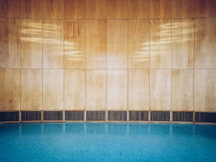 Wall by swimming pool