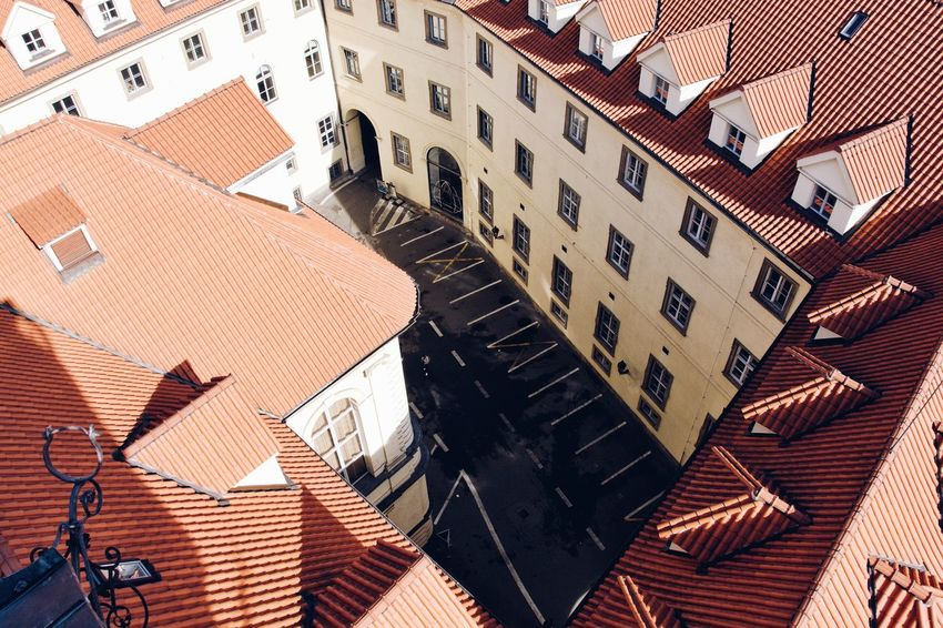 Looking down. Architecture Building Building Exterior Built Structure City City Life High Angle View House No People Residential District Roof Street Sunlight Town Travel Destinations The Architect - 2018 EyeEm Awards