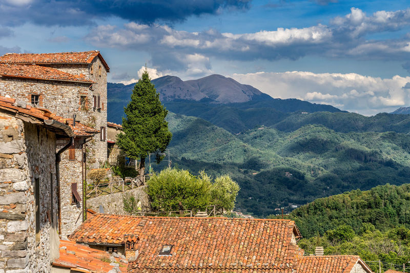 View of the Apuan Alps from Cardoso, Garfagnana, Tuscany Ancient Apuan Alps Architecture Building Exterior Built Structure Cardoso Cloud - Sky Day Europe European  Garfagnana History Holiday Italia Italy Lucca Mountain Mountain Range Nature Old Buildings Outdoors Sky Terracotta Travel Photography Tuscany First Eyeem Photo