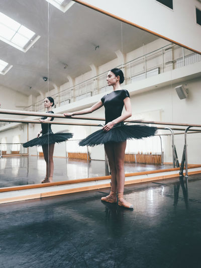 Young Ballet Dancer Practicing In Studio
