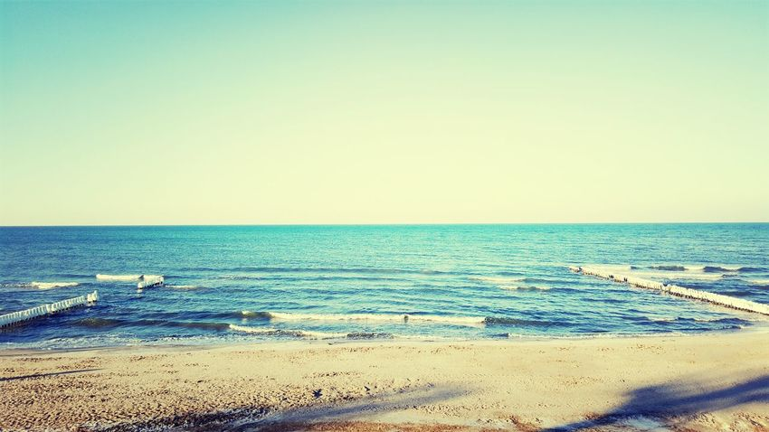 Sea Beach Horizon Over Water Clear Sky Sky Blue Water Nature Sand Beauty In Nature Mielno Plaża S6 Edge Photography Poland