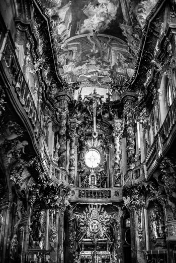 Indoors  Ceiling Built Structure Architecture Place Of Worship Low Angle View Spirituality No People Building Religion Belief Lighting Equipment Art And Craft Ornate Travel Destinations Architectural Column Chandelier Hanging History Carving Mural Architecture And Art
