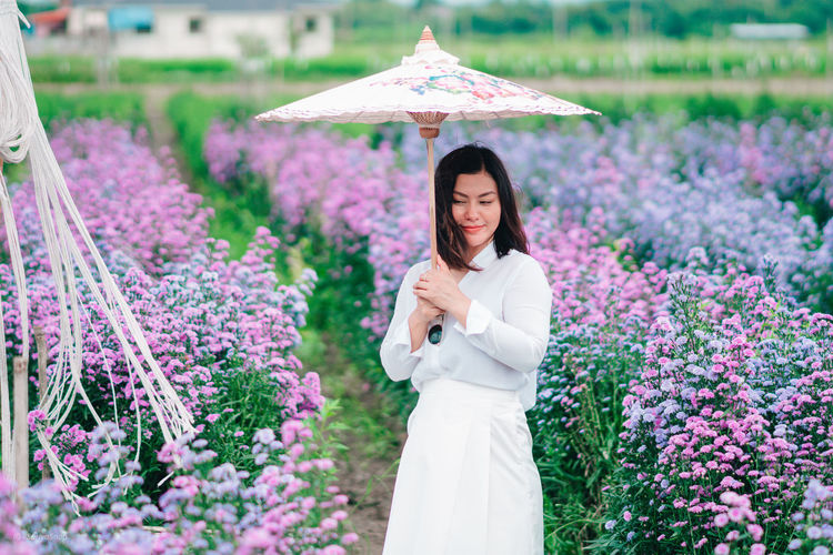 Woman standing on purple flowering plants