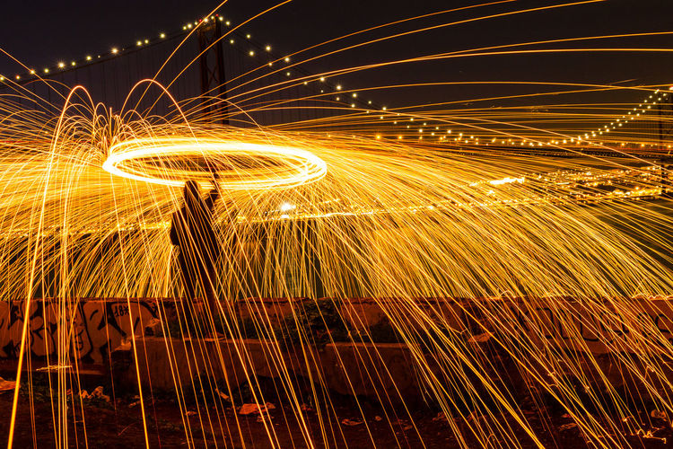 Man With Illuminated Wire Wool At Night