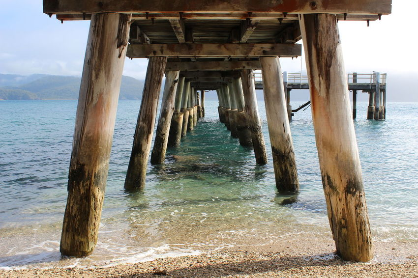 Architecture Australia Beach Beauty In Nature Built Structure Nature Pier Scenics Sea Shore Tranquility Water Whitsunday Wood - Material