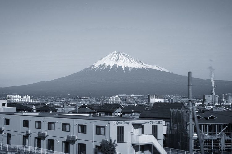 Architecture Building Exterior Built Structure Mountain No People Cityscape Outdoors Sky Clear Sky Residential Building City Day Travel Destinations Nature Snow Beauty In Nature Mt.Fuji LeicaXE Leica X-e Monochrome Blackandwhite Black And White Leica