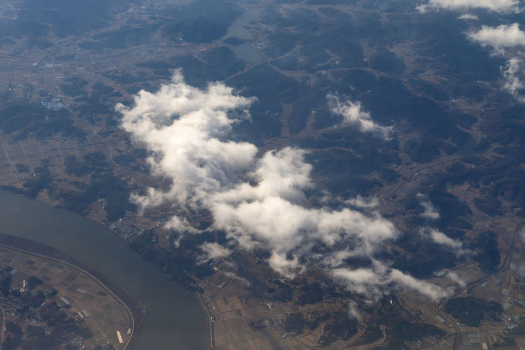 Aerial view of cloud over landscape